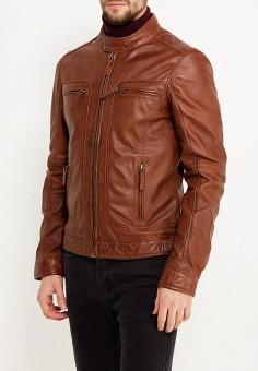 Куртка кожаная, Oakwood, цвет: коричневый. Артикул: OA002EMWFF91. Одежда / Верхняя одежда / Кожаные куртки