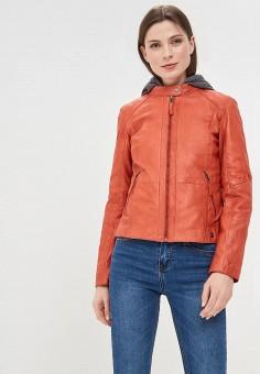 Куртка кожаная, Oakwood, цвет: оранжевый. Артикул: OA002EWAFZA7.