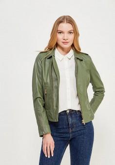 Куртка кожаная, Oakwood, цвет: зеленый. Артикул: OA002EWAFZB1. Одежда / Верхняя одежда / Косухи