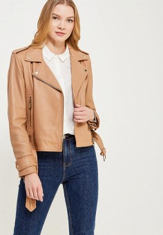 Куртка кожаная, Oakwood, цвет: бежевый. Артикул: OA002EWAFZB2. Одежда / Верхняя одежда / Косухи