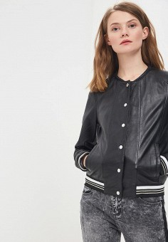 Куртка кожаная, Oakwood, цвет: черный. Артикул: OA002EWAFZB7.