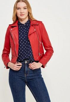 Куртка кожаная, Oakwood, цвет: красный. Артикул: OA002EWAFZB8. Одежда / Верхняя одежда / Косухи