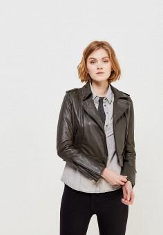 Куртка кожаная, Oakwood, цвет: хаки. Артикул: OA002EWAFZB9.