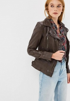 Куртка кожаная, Oakwood, цвет: коричневый. Артикул: OA002EWBSVE5.