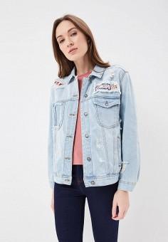 Куртка джинсовая, Only, цвет: голубой. Артикул: ON380EWAFTL4. Одежда / Верхняя одежда