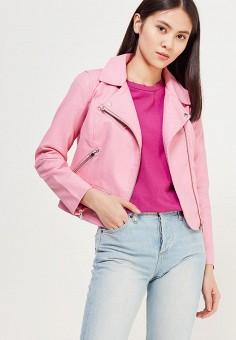 Куртка кожаная, Only, цвет: розовый. Артикул: ON380EWZKV25. Одежда / Верхняя одежда