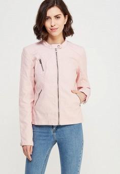Куртка кожаная, Only, цвет: розовый. Артикул: ON380EWZKV29. Одежда / Верхняя одежда