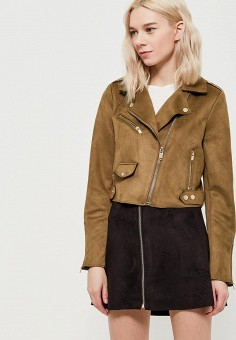 Куртка кожаная, Only, цвет: хаки. Артикул: ON380EWZKW97. Одежда / Верхняя одежда