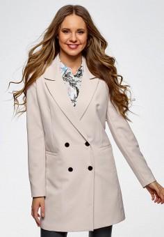 Пальто, oodji, цвет: бежевый. Артикул: OO001EWATPI5. Одежда / Верхняя одежда / Пальто