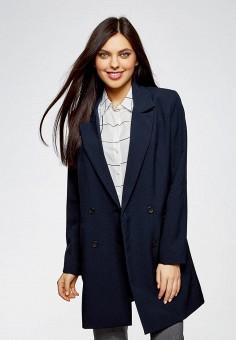 Пальто, oodji, цвет: синий. Артикул: OO001EWATPI6. Одежда / Верхняя одежда / Пальто