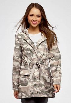 Куртка, oodji, цвет: хаки. Артикул: OO001EWBEDM4. Одежда / Верхняя одежда / Легкие куртки и ветровки