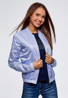 Куртка, oodji, цвет: голубой. Артикул: OO001EWBNTW2. Одежда