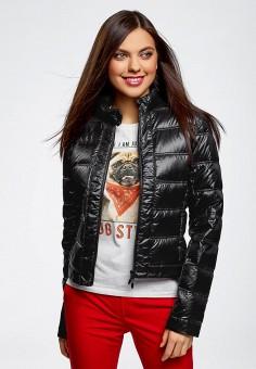 Пуховик, oodji, цвет: черный. Артикул: OO001EWJOM28. Одежда / Верхняя одежда / Пуховики и зимние куртки