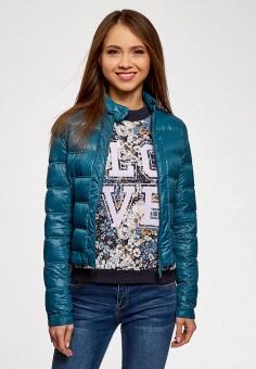 Пуховик, oodji, цвет: синий. Артикул: OO001EWJOM30. Одежда / Верхняя одежда / Пуховики и зимние куртки