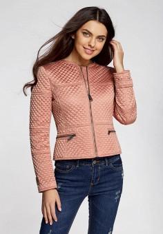 Куртка утепленная, oodji, цвет: розовый. Артикул: OO001EWSIZ50. Одежда / Верхняя одежда / Демисезонные куртки
