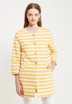 Пальто, oodji, цвет: оранжевый. Артикул: OO001EWSNJ43. Одежда / Верхняя одежда / Пальто