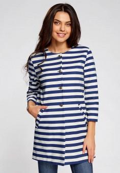 Пальто, oodji, цвет: синий. Артикул: OO001EWSNJ45. Одежда / Верхняя одежда / Пальто