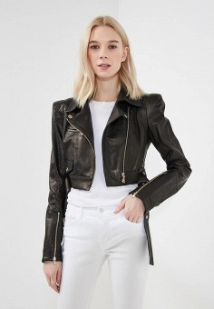 Куртка кожаная, Patrizia Pepe, цвет: черный. Артикул: PA748EWYLL27. Одежда / Верхняя одежда