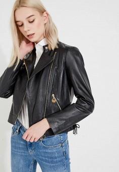 Куртка кожаная, Pennyblack, цвет: черный. Артикул: PE003EWAEDS1. Одежда / Верхняя одежда