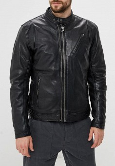 Куртка кожаная, Pepe Jeans, цвет: черный. Артикул: PE299EMBNGZ2. Одежда / Верхняя одежда / Кожаные куртки