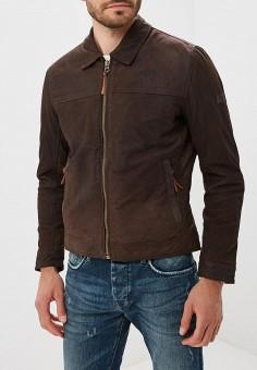 Куртка кожаная, Pepe Jeans, цвет: коричневый. Артикул: PE299EMBNGZ3. Одежда / Верхняя одежда / Кожаные куртки