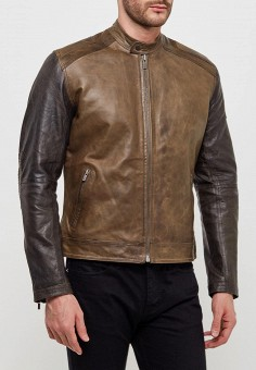 Куртка кожаная, Pepe Jeans, цвет: коричневый. Артикул: PE299EMZEW00. Одежда / Верхняя одежда / Кожаные куртки
