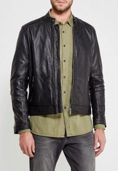 Куртка кожаная, Pepe Jeans, цвет: черный. Артикул: PE299EMZEW01. Одежда / Верхняя одежда / Кожаные куртки
