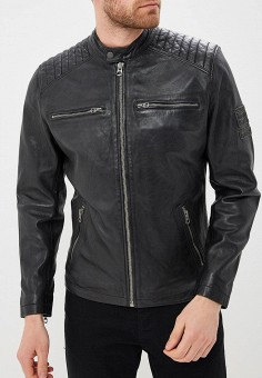 Куртка кожаная, Pepe Jeans, цвет: черный. Артикул: PE299EMZGX12. Одежда / Верхняя одежда / Кожаные куртки