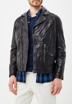 Куртка кожаная, Pepe Jeans, цвет: черный. Артикул: PE299EMZGX13. Одежда / Верхняя одежда / Кожаные куртки