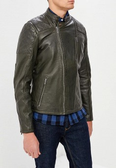 Куртка кожаная, Pepe Jeans, цвет: серый. Артикул: PE299EMZGX14. Одежда / Верхняя одежда / Кожаные куртки