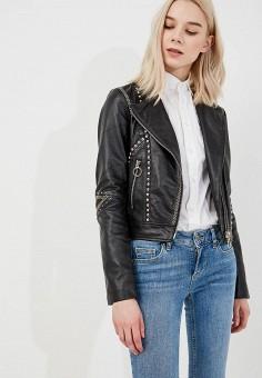 Куртка кожаная, Pinko, цвет: черный. Артикул: PI754EWYWU75. Одежда / Верхняя одежда