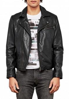 Куртка кожаная, Q/S designed by, цвет: черный. Артикул: QS006EMZPE27. Одежда / Верхняя одежда / Кожаные куртки