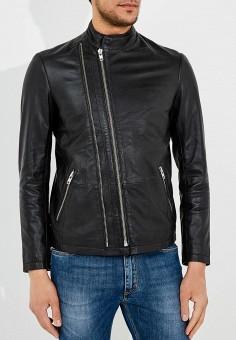 Куртка кожаная, Sand, цвет: черный. Артикул: SA915EMBGOZ1. Одежда / Верхняя одежда / Кожаные куртки