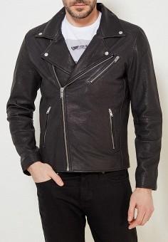 Куртка кожаная, Selected Homme, цвет: черный. Артикул: SE392EMAFUJ9. Одежда / Верхняя одежда / Кожаные куртки