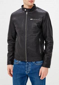 Куртка кожаная, Selected Homme, цвет: черный. Артикул: SE392EMBXVC7. Одежда / Верхняя одежда / Кожаные куртки