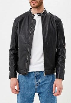 Куртка кожаная, Selected Homme, цвет: черный. Артикул: SE392EMBXVC8. Одежда / Верхняя одежда / Кожаные куртки
