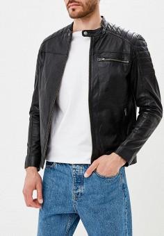 Куртка кожаная, Selected Homme, цвет: черный. Артикул: SE392EMBXVD6. Одежда / Верхняя одежда / Кожаные куртки