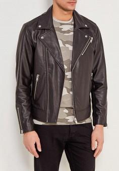Куртка кожаная, Selected Homme, цвет: черный. Артикул: SE392EMZBH50. Одежда / Верхняя одежда / Кожаные куртки