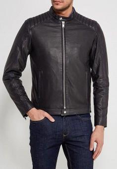 Куртка кожаная, Selected Homme, цвет: черный. Артикул: SE392EMZBH51. Одежда / Верхняя одежда / Кожаные куртки