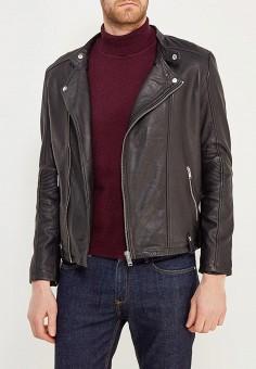 Куртка кожаная, Selected Homme, цвет: черный. Артикул: SE392EMZBH53. Одежда / Верхняя одежда / Кожаные куртки