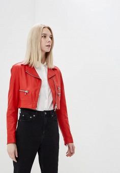 Куртка кожаная, Silvian Heach, цвет: красный. Артикул: SI386EWAOZD1. Одежда / Верхняя одежда