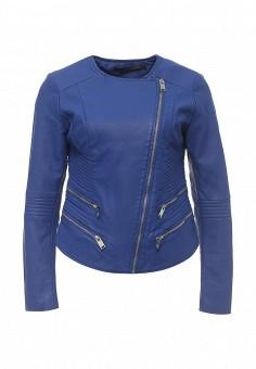 Куртка кожаная, Silvian Heach, цвет: синий. Артикул: SI386EWRHW10. Одежда / Верхняя одежда