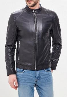 Куртка кожаная, Strellson, цвет: черный. Артикул: ST004EMAWXV9. Одежда / Верхняя одежда / Кожаные куртки