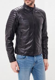 Куртка кожаная, Strellson, цвет: черный. Артикул: ST004EMAXHF4. Одежда / Верхняя одежда / Кожаные куртки