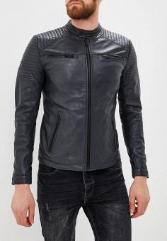 Куртка кожаная, Superdry, цвет: черный. Артикул: SU789EMBTJO6. Одежда / Верхняя одежда / Кожаные куртки