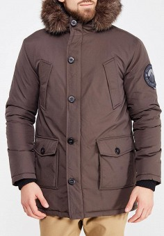 Парка, Superdry, цвет: коричневый. Артикул: SU789EMVCC84. Одежда / Верхняя одежда / Пуховики и зимние куртки