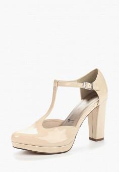 Туфли, Tamaris, цвет: бежевый. Артикул: TA171AWACMW2. Обувь / Туфли / Закрытые туфли