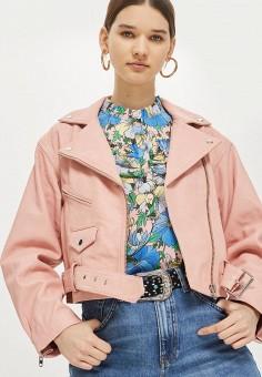 Куртка кожаная, Topshop, цвет: розовый. Артикул: TO029EWBAKC3. Одежда / Верхняя одежда / Косухи
