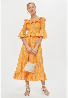 Платье, Topshop, цвет: желтый. Артикул: TO029EWCFRH5. Одежда / Платья и сарафаны