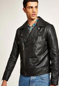Куртка кожаная, Topman, цвет: черный. Артикул: TO030EMBLXZ9. Одежда / Верхняя одежда / Кожаные куртки